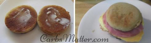 Slice bun in half