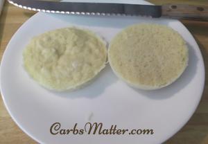 Slice muffin in half